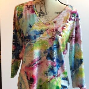 Colourful V Neck Top